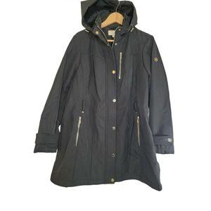 Michael Kors Womens Black Gold Hooded Jacket